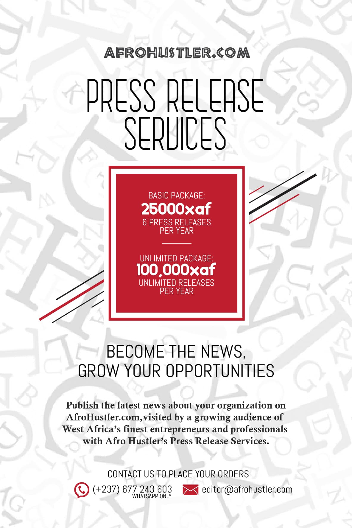 Afro Hustler Press Release Services
